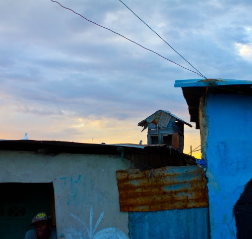 A tiny tin hut on the roof of a tin hut in Cite Soleil, the poorest shanty in Port-au-Prince.
